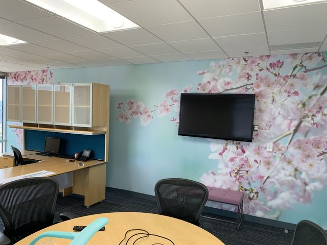 custom wall graphic of flowers