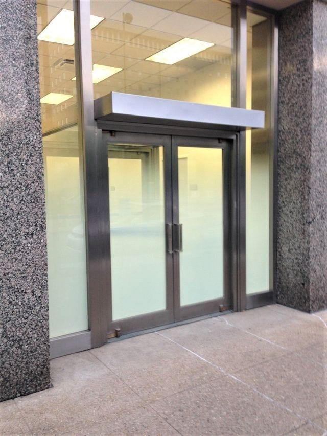 door with privacy window film