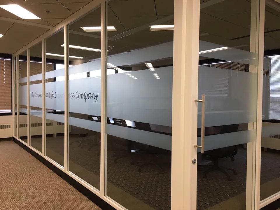 decorative window film applied to office conference room in ohio