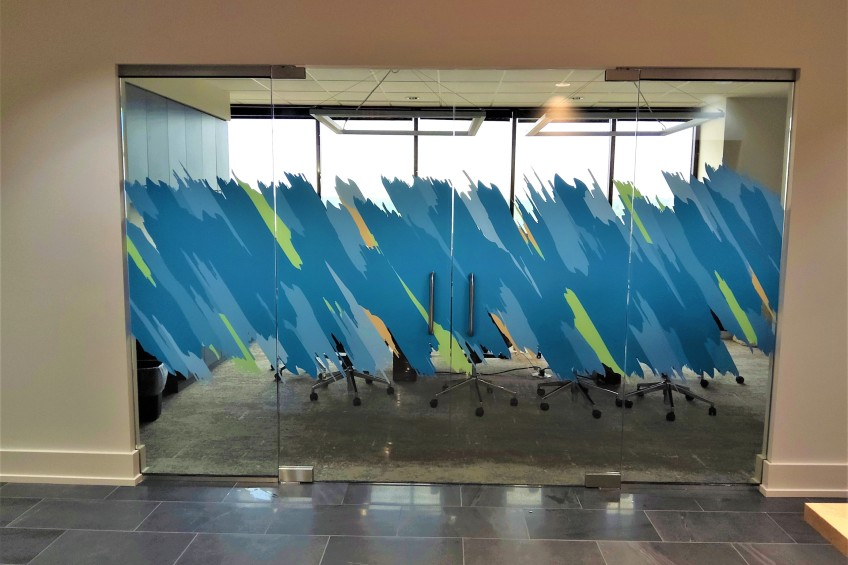 decorative film on conference room wall
