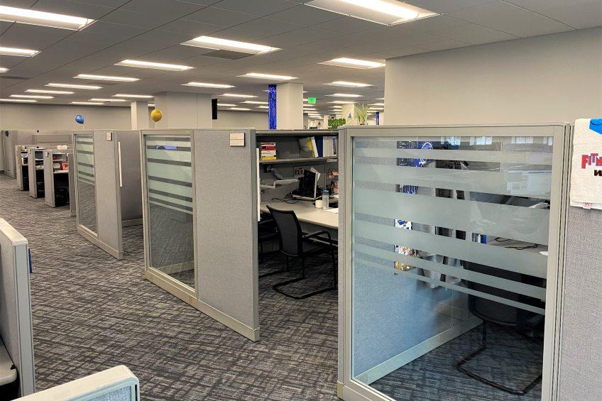 decorative film on cubicle partition
