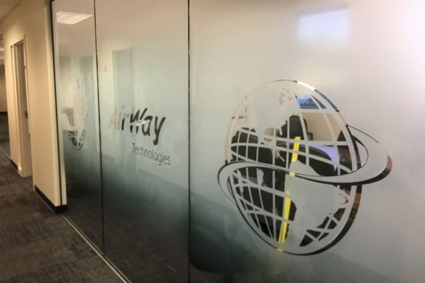 gradient film on outside of glass conference room walls